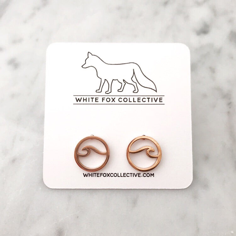 Wave Earrings - Rose Gold
