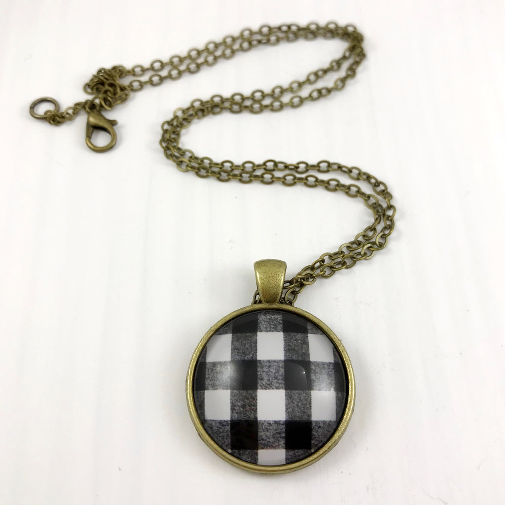 Black and White Plaid Necklace