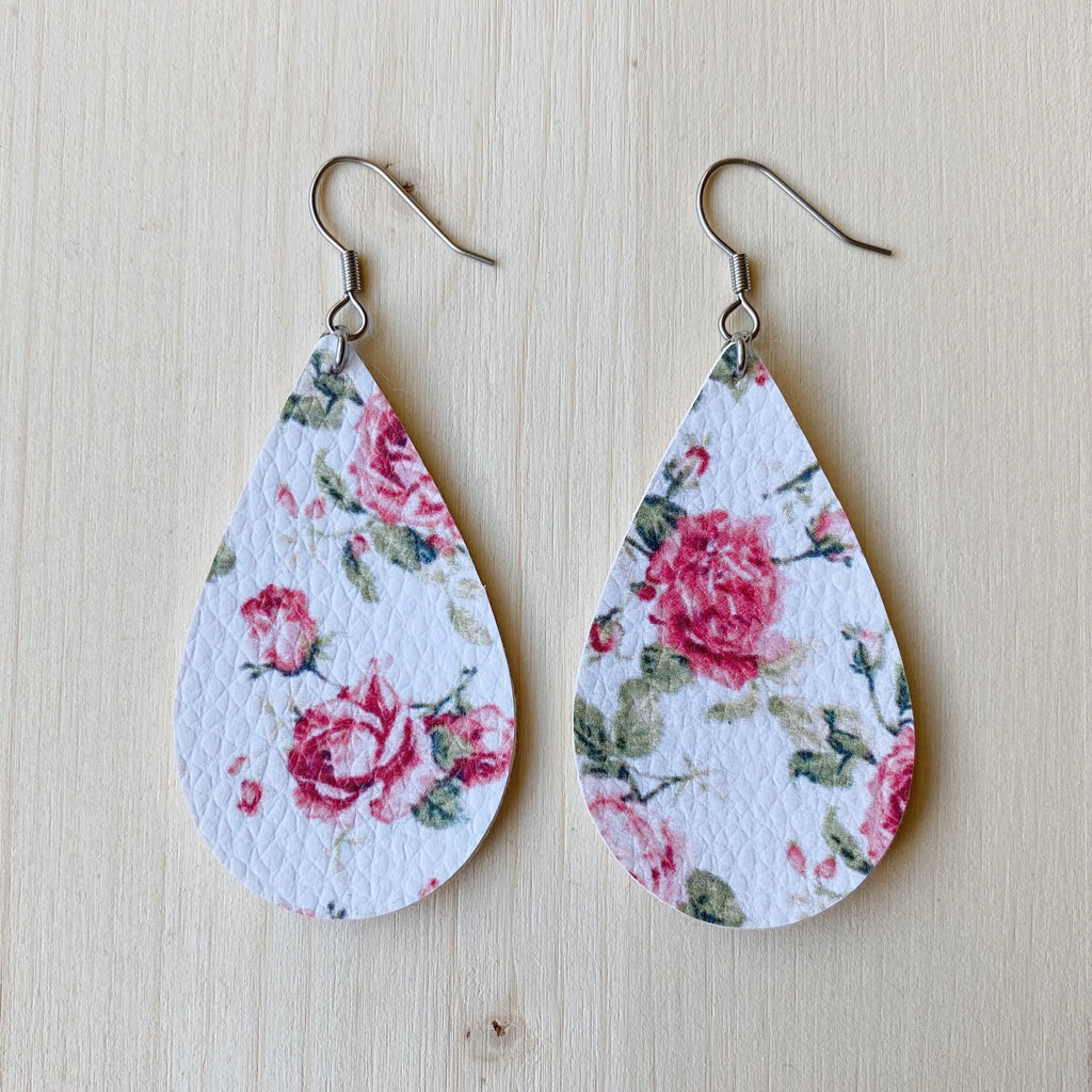 Pink Floral Vegan Leather Teardrop Earrings