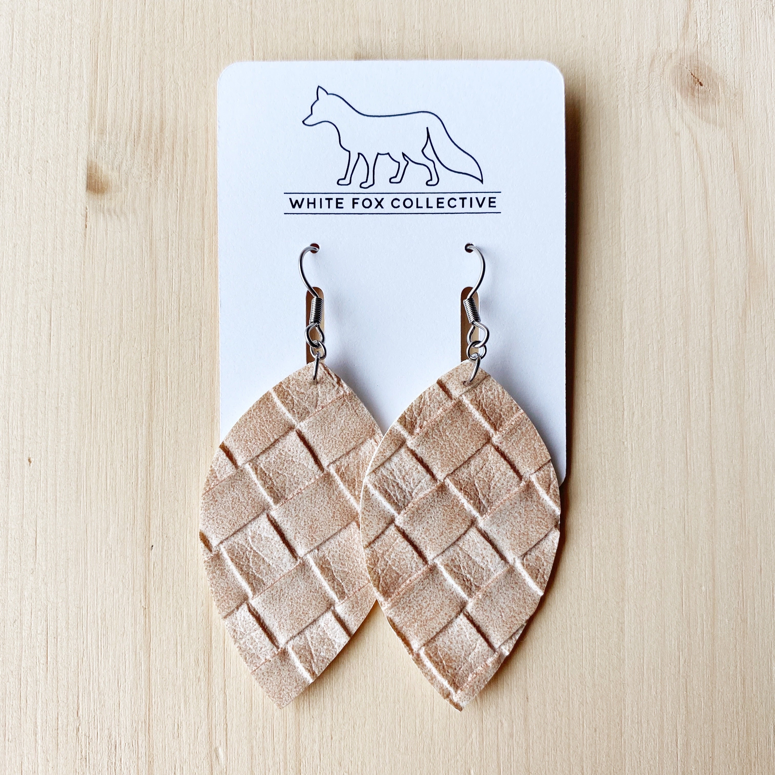 Leaf Earrings - Champagne Weave