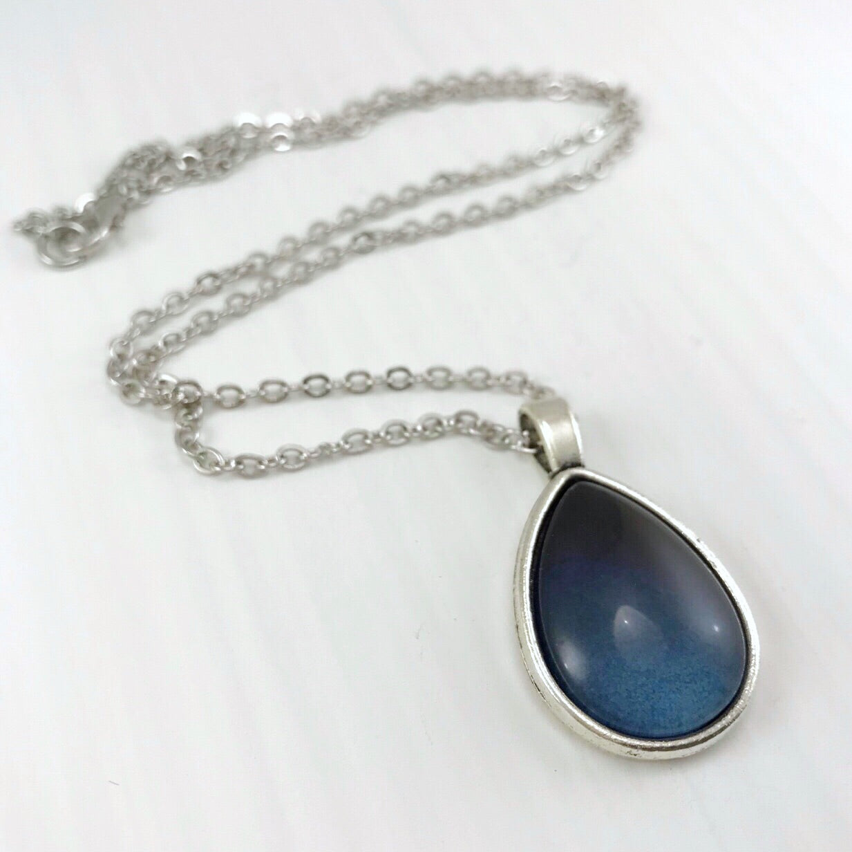Dark Blue Ombré Teardrop Necklace - Antique Silver