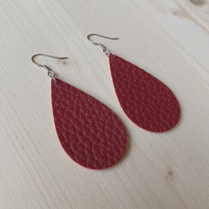 Wine Vegan Leather Teardrop Earrings