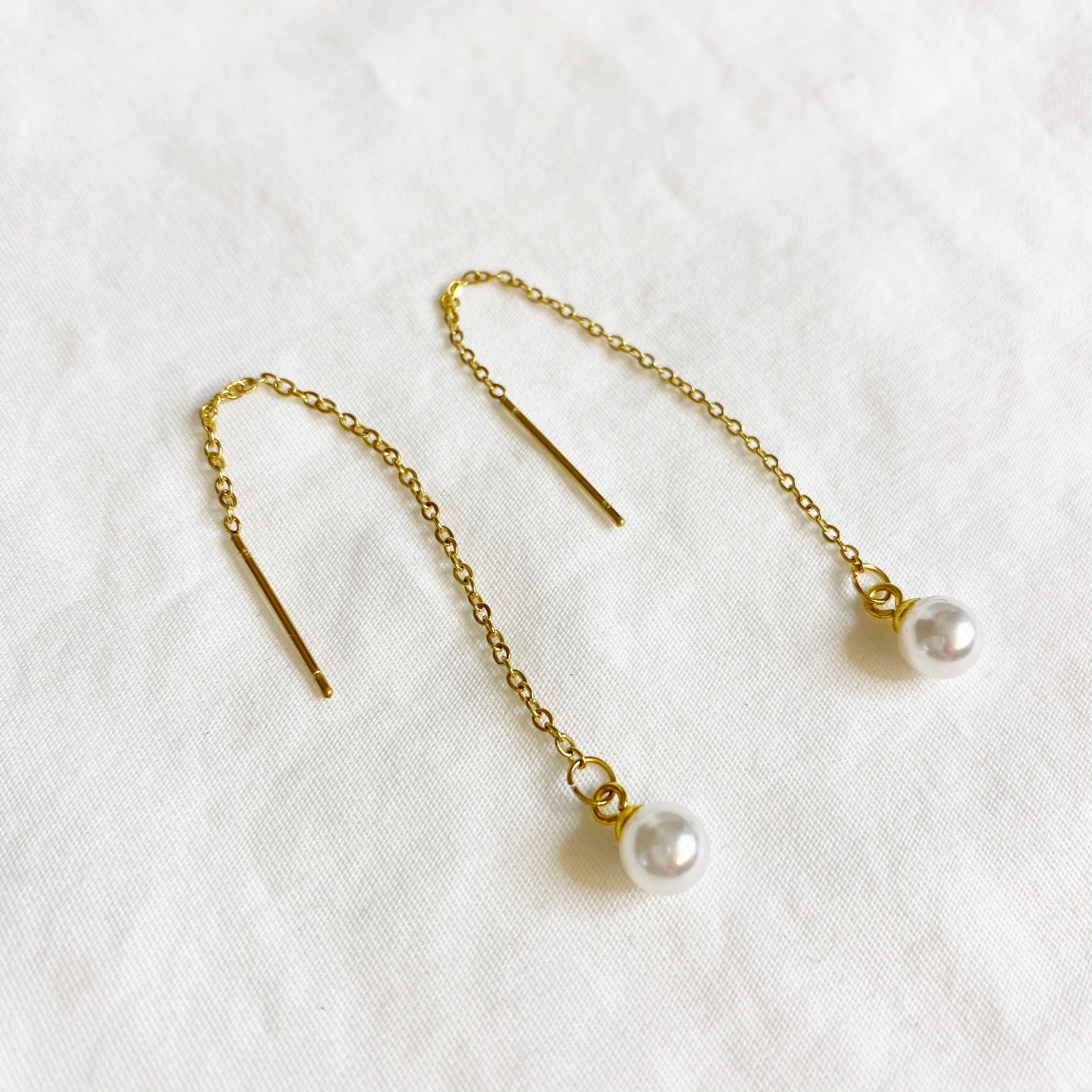 Threader Earrings - Gold Pearl