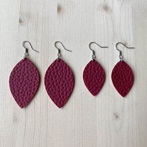 Leaf Earrings - Wine