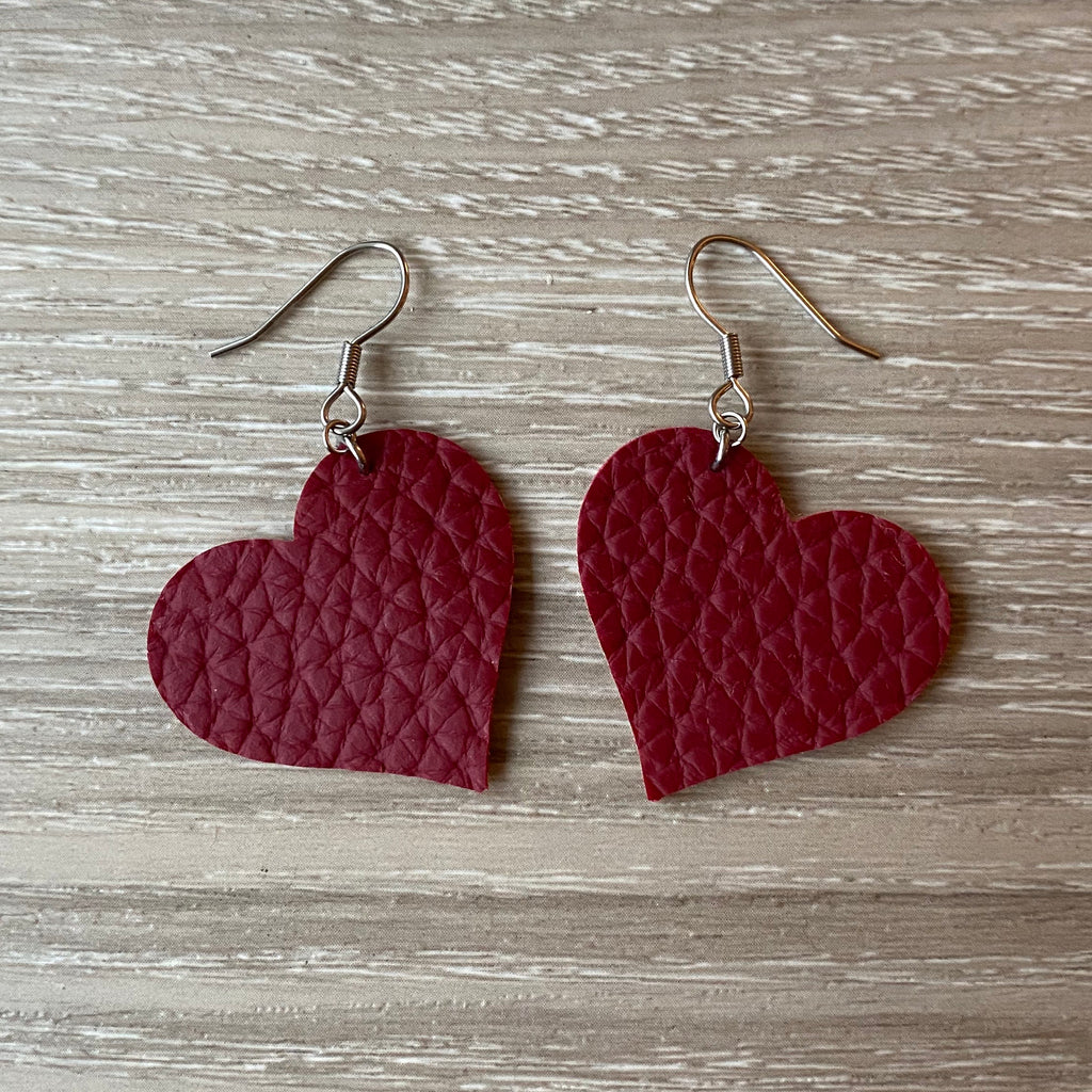 Wine Heart Vegan Leather Earrings