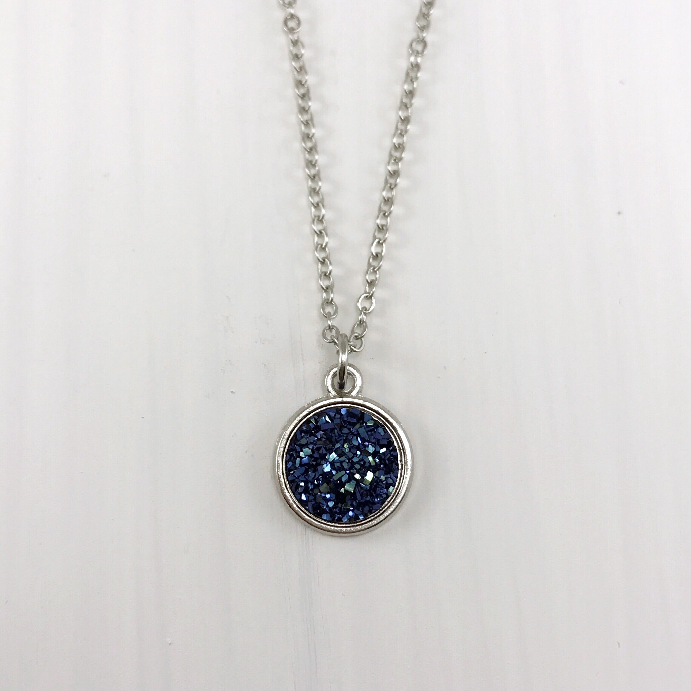 Metallic Blue Faux Druzy Necklace - Small