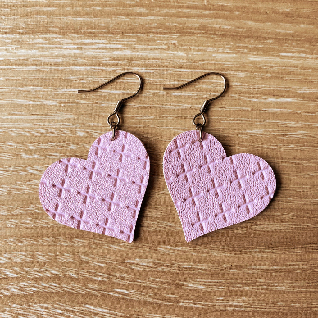 Lilac Cross Heart Vegan Leather Earrings