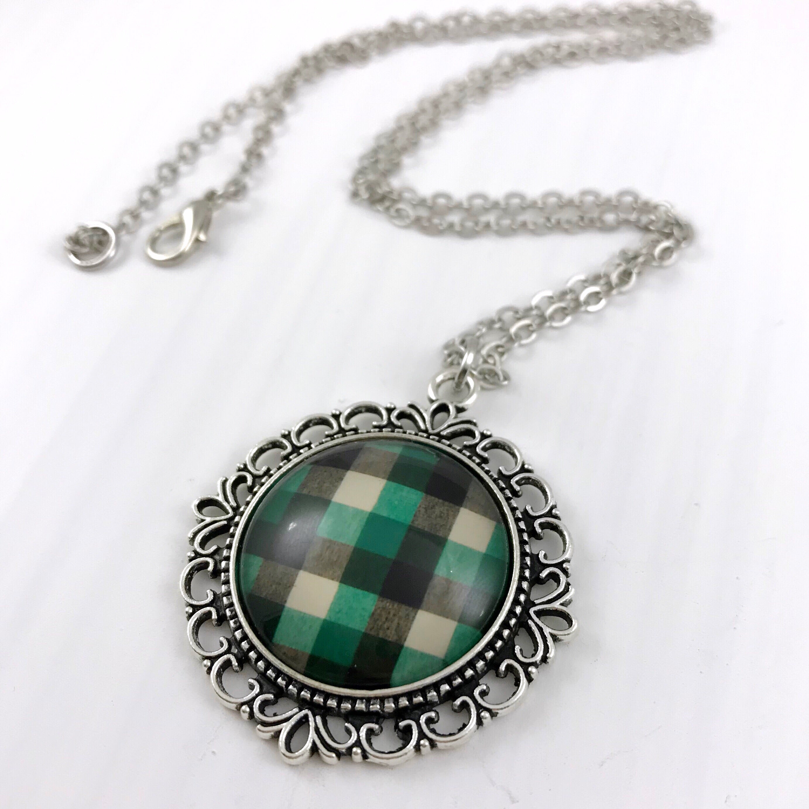 Green, White and Black Plaid Necklace Ornate