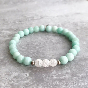 Blue Amazonite and Cracked Quartz Bracelet - 6mm