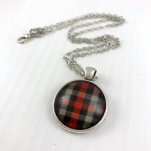 Red, Grey and Black Plaid Necklace
