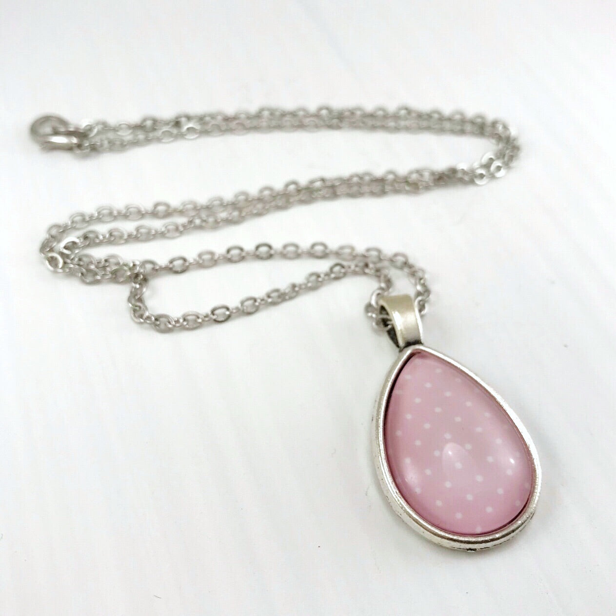 Pink and White Polka Dot Teardrop Necklace - Antique Silver