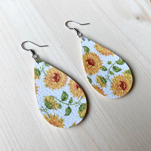 Sunflower Vegan Leather Teardrop Earrings