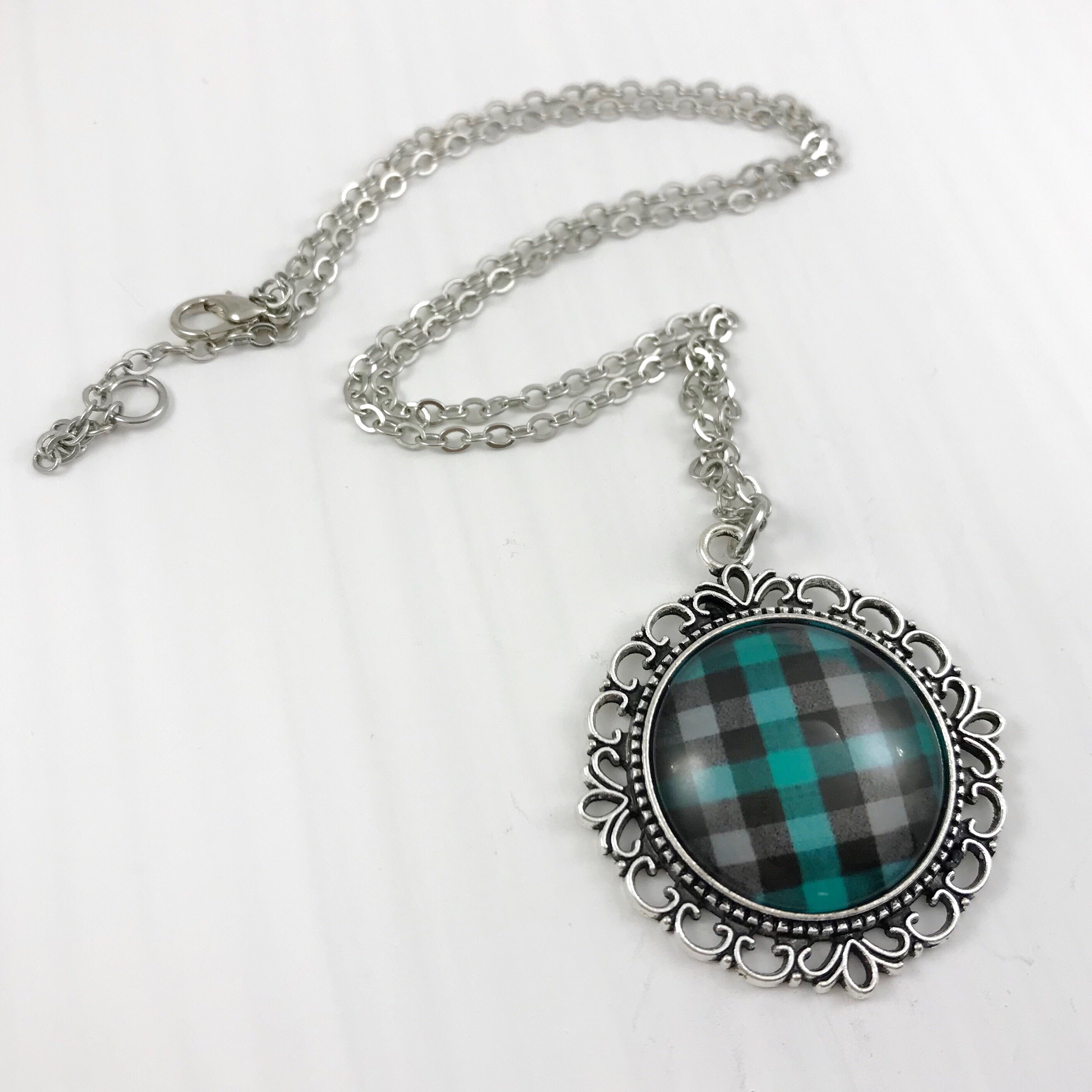 Teal Plaid Necklace Ornate