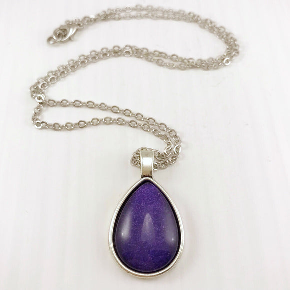 Purple Teardrop Necklace - Antique Silver