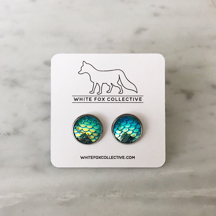 Teal Mermaid Earrings