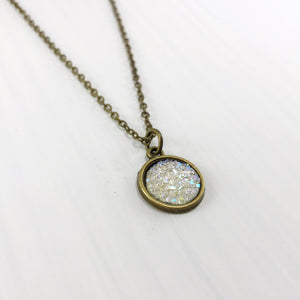 Crystal Faux Druzy Necklace - Small