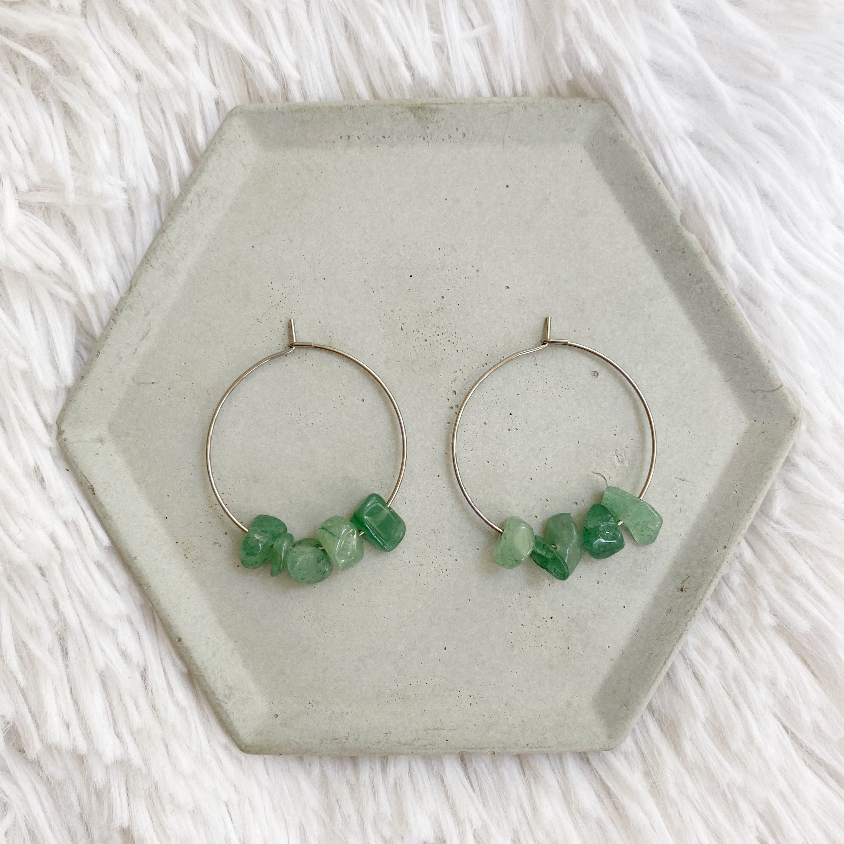 Stone Hoop Earrings - Green Aventurine