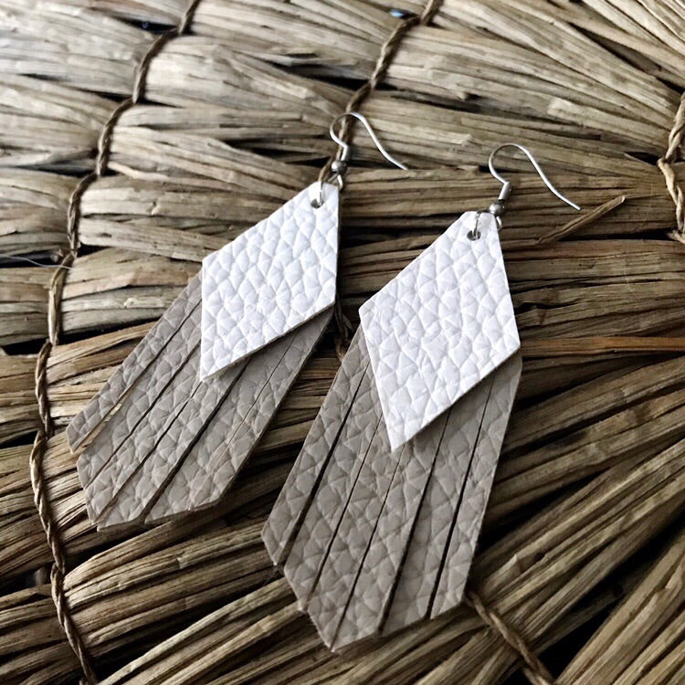 White and Sand Tassel Vegan Leather Earrings