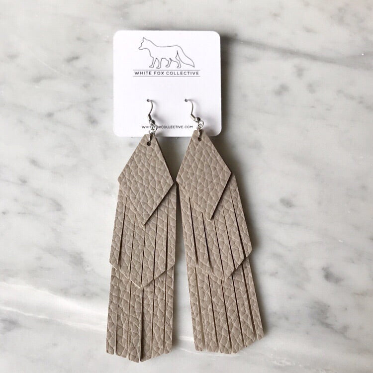 Sand Tassel Vegan Leather Earrings
