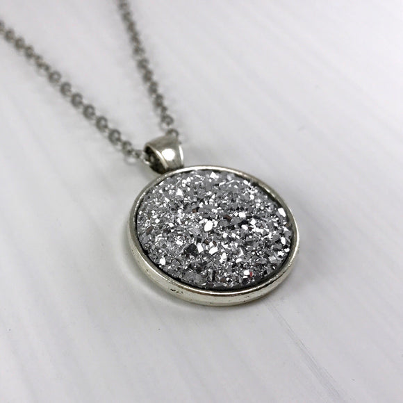 Silver Faux Druzy Necklace - Large