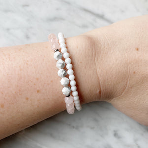 Rose Quartz and White Agate Bracelet Set 6mm - 2 Piece