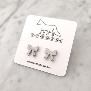 Bow Earrings - Silver