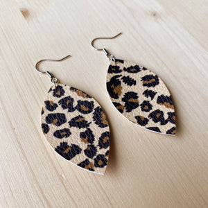 Leaf Earrings - Leopard