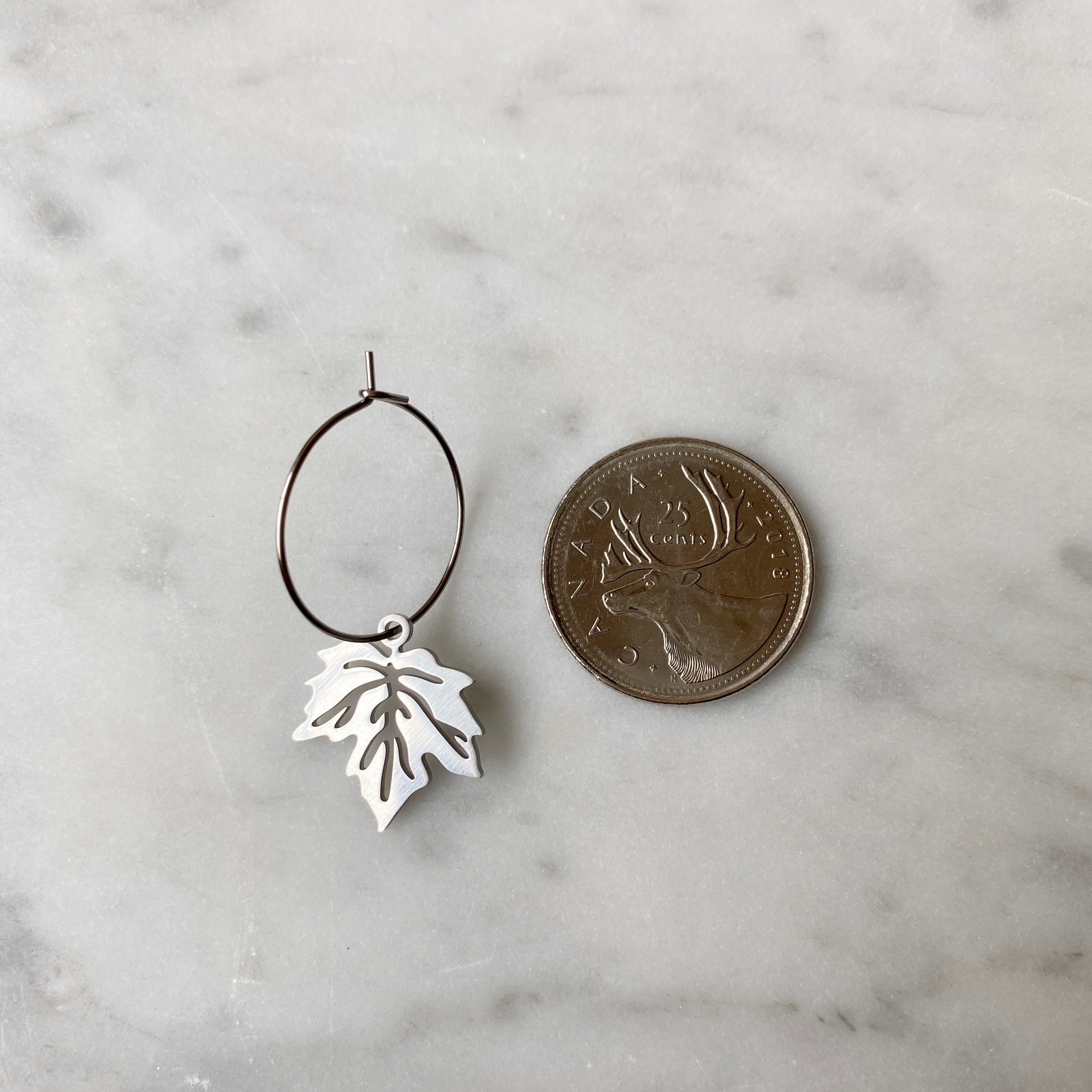Maple Leaf Hoop Earrings - Silver