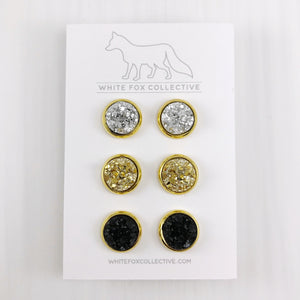 Triple Earring Pack - Gold in Gold Mix