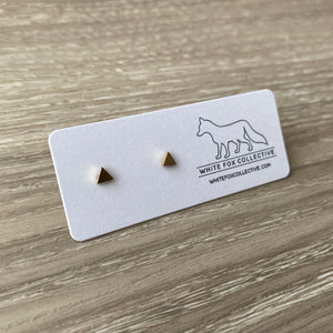 Tiny Triangle Earrings - Gold