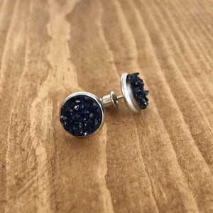 Sapphire Faux Druzy Earrings