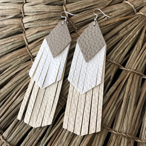 Sand, White and Cream Tassel Vegan Leather Earrings