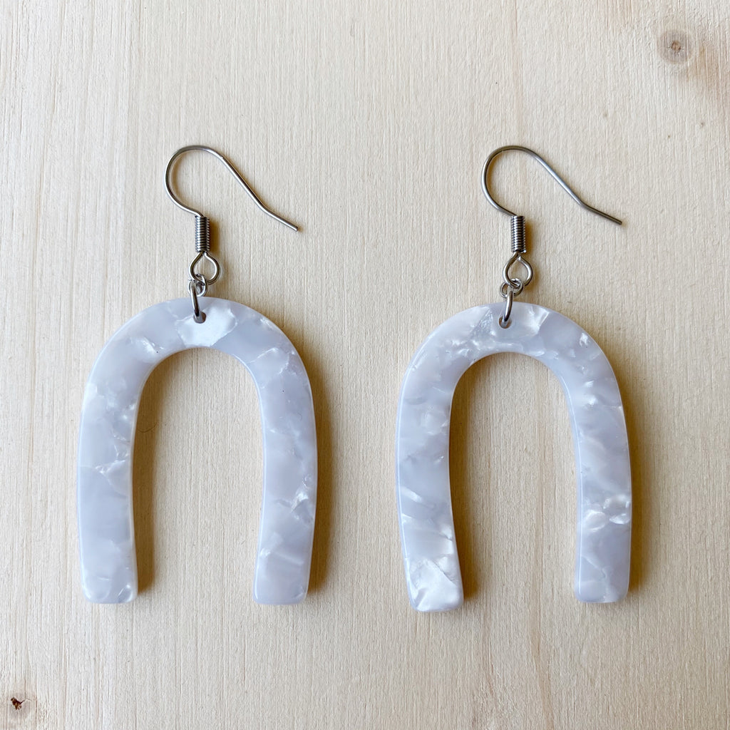 Horseshoe Acetate Earrings - White
