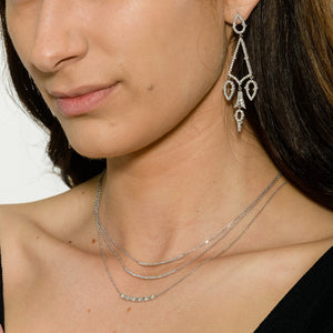 "Curved Bar Pendant, 0.16ctw, 18K White Gold with a 18"" adjustable chain 