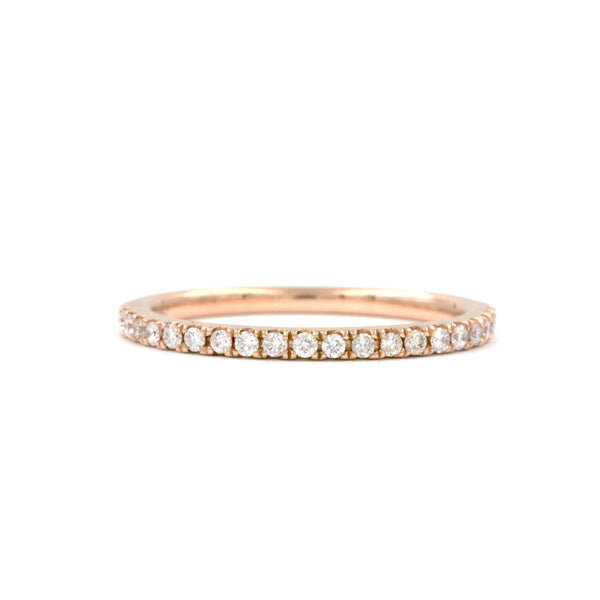 14K Rose Gold Milgrain Half Eternity Diamond .25ctw Wedding Band | Blacy's Fine Jewelers