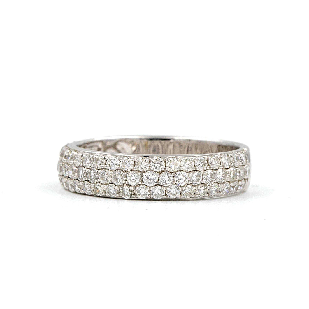 14K White Gold 3 Row Diamond Pave Wedding Band 1.05 ctw | Blacy's Fine Jewelers