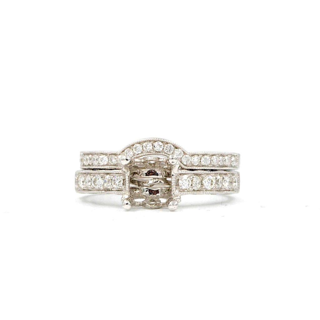 Diamond Semi Mounting Wedding set Mounting Equals .55 ctw Band Equals 0.20 ctw 14k White Gold | Blacy's Fine Jewelers