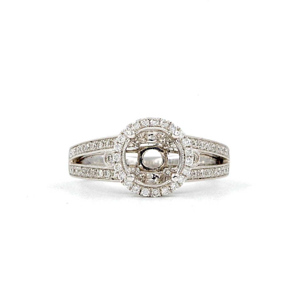 Halo Diamond Semi Mounting 70 Round Brilliant Diamonds equals to .43 ctw 18K White Gold | Blacy's Fine Jewelers