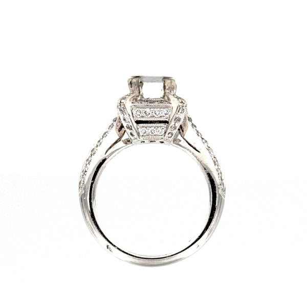 Square Semi Mounting Ring Platinum Round Brilliant Diamonds equaling to .89ctw | Blacy's Fine Jewelers