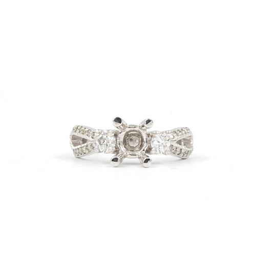 Antique look Diamond Semi Mount size 6 on 14K White Gold | Blacy's Fine Jewelers