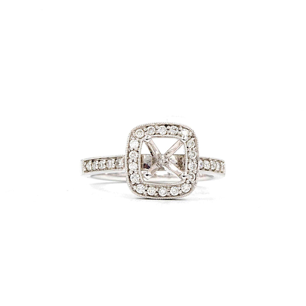 Semi Mount Halo 45 Round Brilliant Diamonds equals to a .49ctw 14K White Gold | Blacy's Fine Jewelers