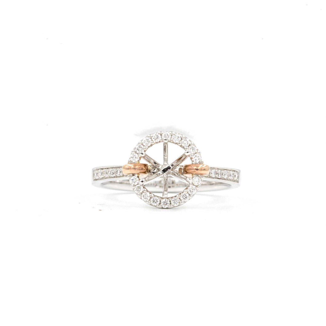 2 Tone Round Halo Semi Mounting 30 Round Brilliant Diamonds equals .22ctw 14K White and Rose Gold | Blacy's Fine Jewelers