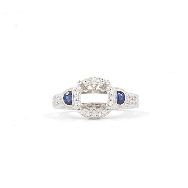 14K White Gold Blue Sapphire .44ctw and Diamond .20ctw Semi Mounting | Blacy's Fine Jewelers