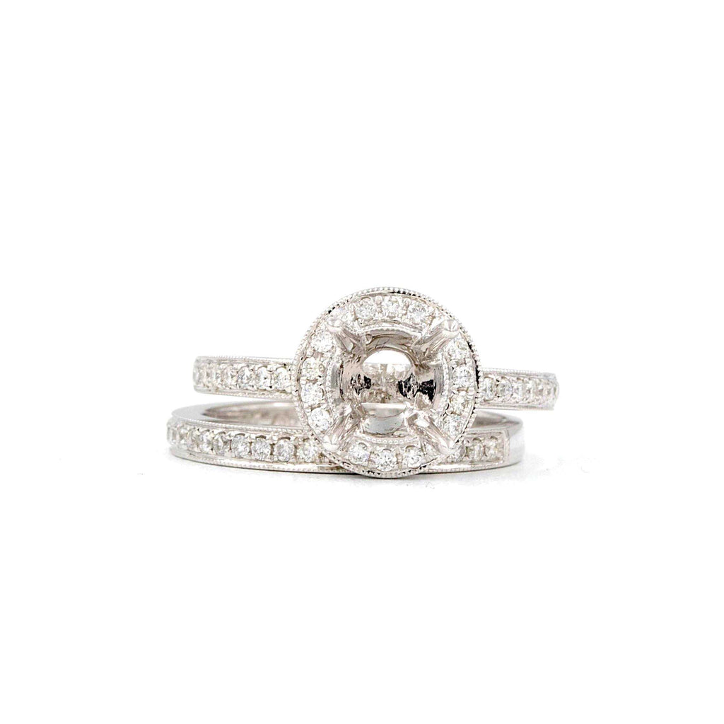 Diamond Halo Semi Mounting Wedding Set with Matching Band 56 Round Brilliant Diamonds equals .48 ctw 18K White Gold | Blacy's Fine Jewelers
