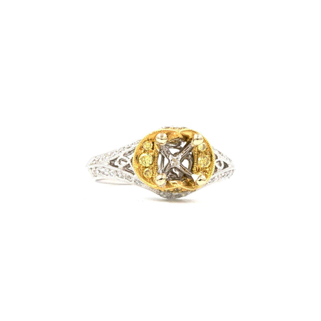 Yellow and White Gold Semi Mounting | Blacy's Fine Jewelers