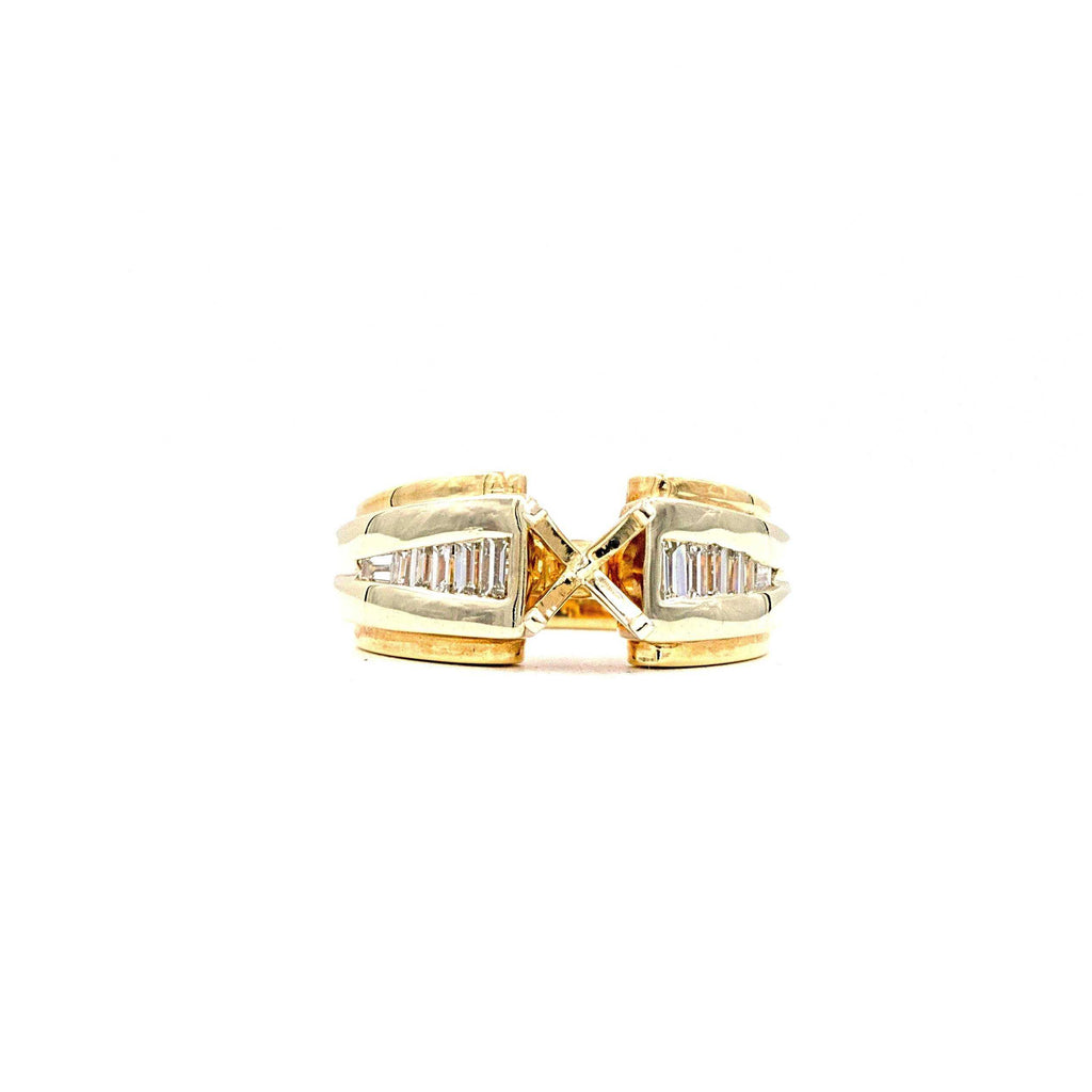 2 Tone Diamond Baguette Semi Mounting 12 Tapered Baguettes 0.68ctw 14K Yellow Gold and White Gold | Blacy's Fine Jewelers