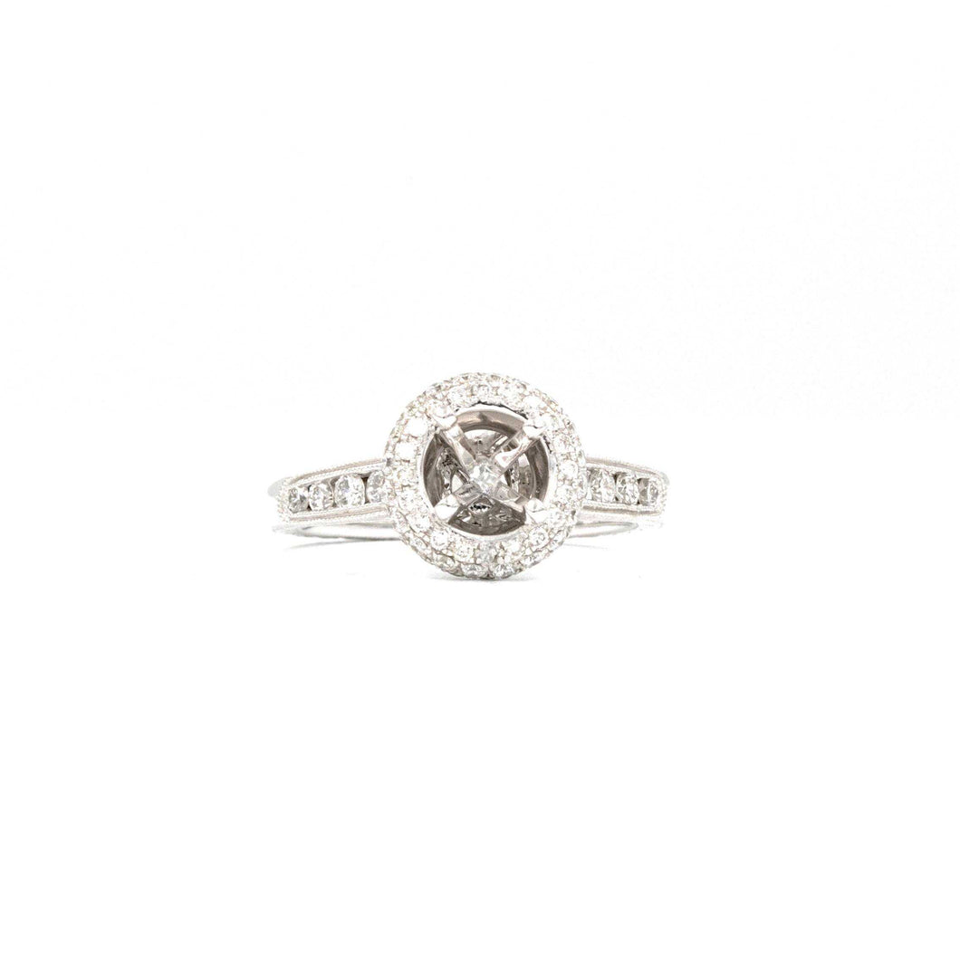 Costar Antique Filigree Halo Semi Mounting Diamonds Equals to .75ctw 14K White Gold | Blacy's Fine Jewelers
