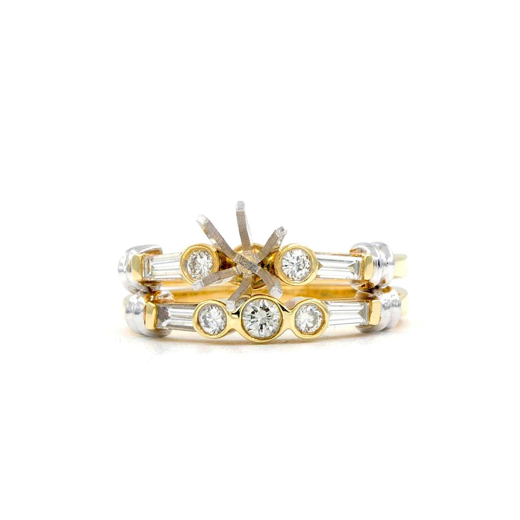 Dioro Diamond Wedding Set Semi Mounting 5 Round Brilliant Diamonds 14k White and Yellow Gold | Blacy's Fine Jewelers