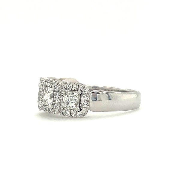 Christopher Designs Asscher Crisscut 5 Stone  Halo Diamond Band 18K WG 1.26Ctw Asscher Diamonds | Blacy's Fine Jewelers