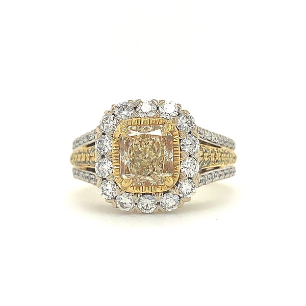 Christopher Designs Cushion Light Fancy Yellow 1.38tw GIA Certified and White Diamond with 0.72tcw Ring | Blacy's Fine Jewelers